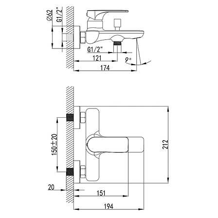 BILINA смеситель для ванны, хром 35мм, фото 2