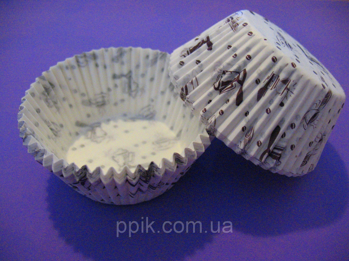 Тарталетки (капсулы) бумажные для кексов, капкейков Кофейня 2