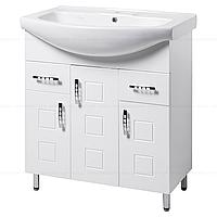 Тумба под раковину для ванной комнаты на ножках КВАТРО Т16 (белая) с умывальником ИЗЕО 75