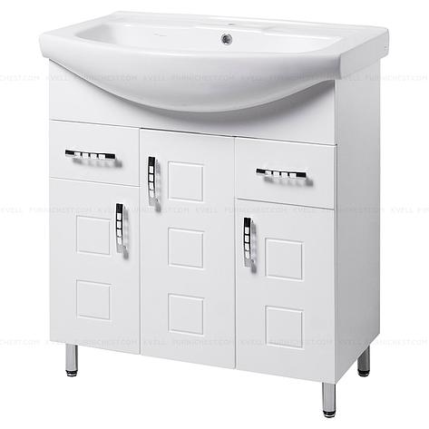 Тумба под раковину для ванной комнаты на ножках КВАТРО Т16 (белая) с умывальником ИЗЕО 75, фото 2
