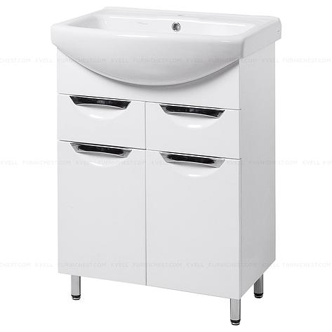 Тумба под раковину для ванной комнаты на ножках ГРАЦИЯ Т5 (белая) с умывальником ИЗЕО 70, фото 2