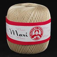 Турецкая пряжа для вязания Madame Tricote Maxi (МАКСИ) летний мерсеризованный хлопок 6300 беж