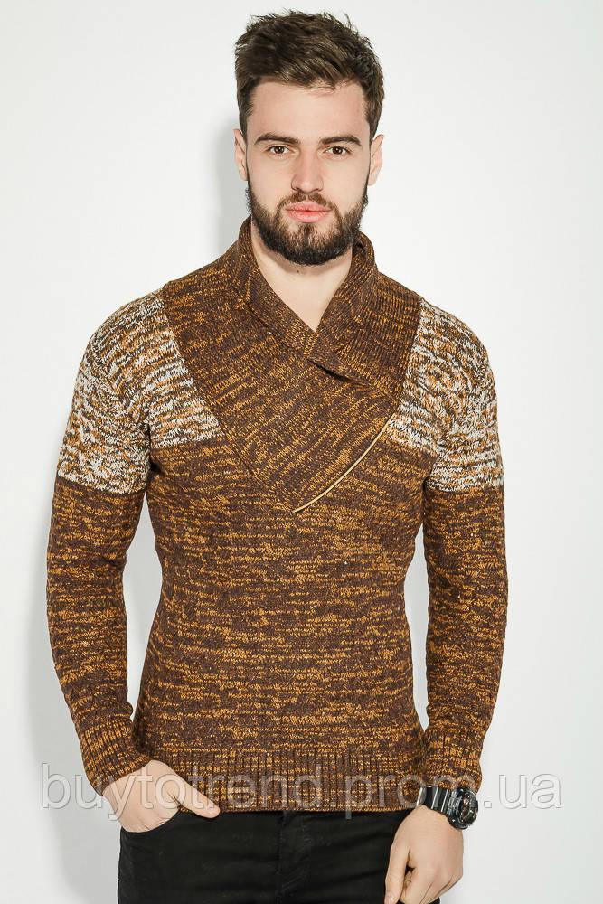 58e6e94ef817d Свитер мужской комбинированный оттенок 48P3228 (Горчично-коричневый) - Buy  to trend в Киеве