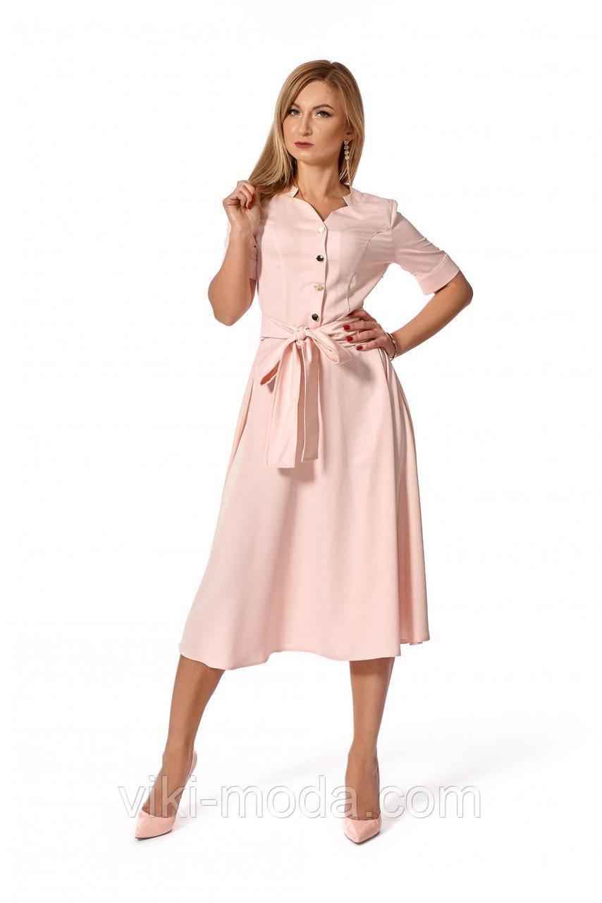 Романтичное платье с поясом, ткань креп шифон, цвет пудровый