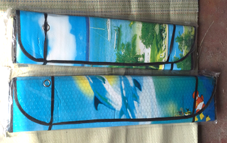 Солнцезащитная шторка Sun shade big Car cover (metallic) стандарт для бусов (70 X 140 см)