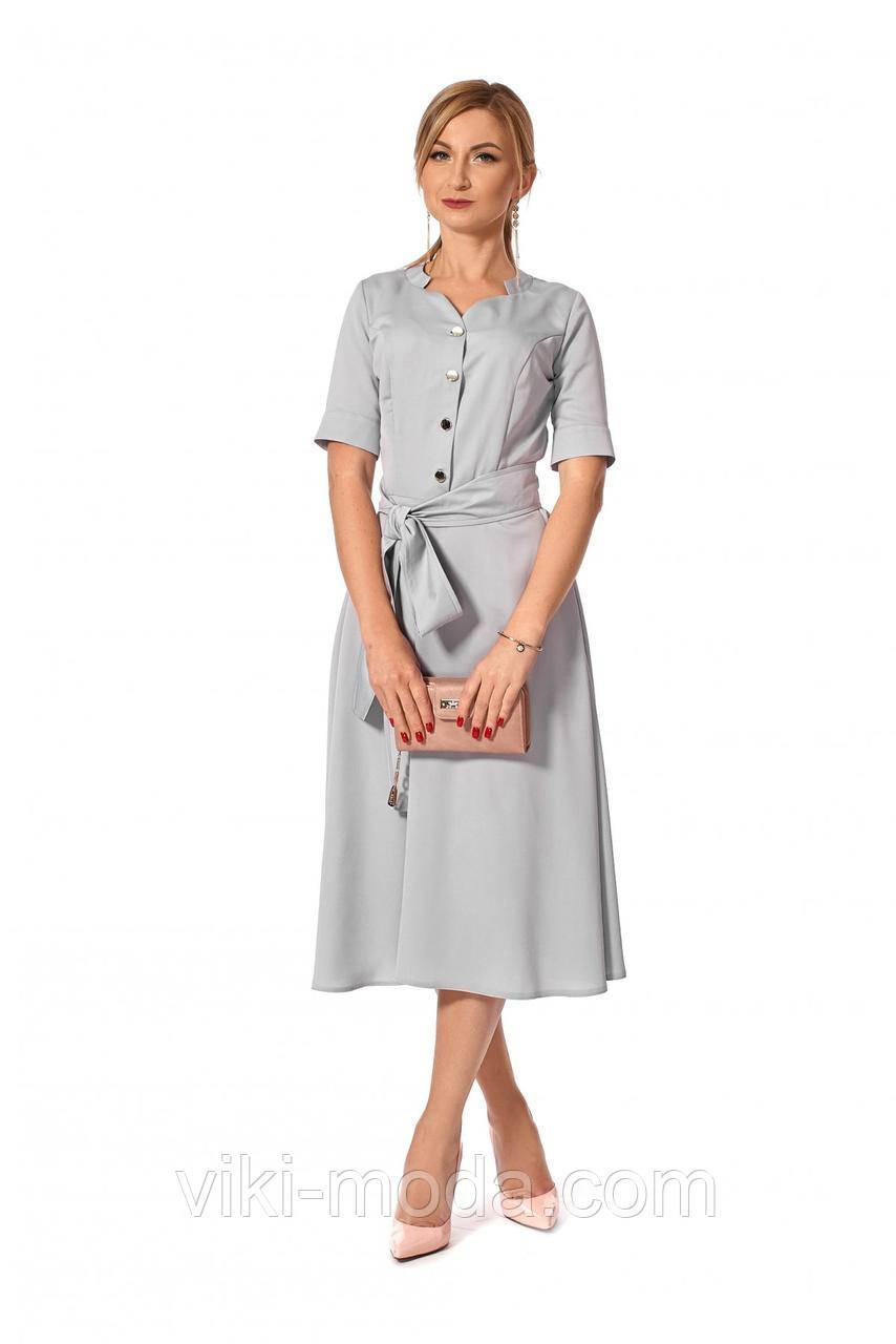Романтичное платье с поясом, ткань креп шифон, цвет серый