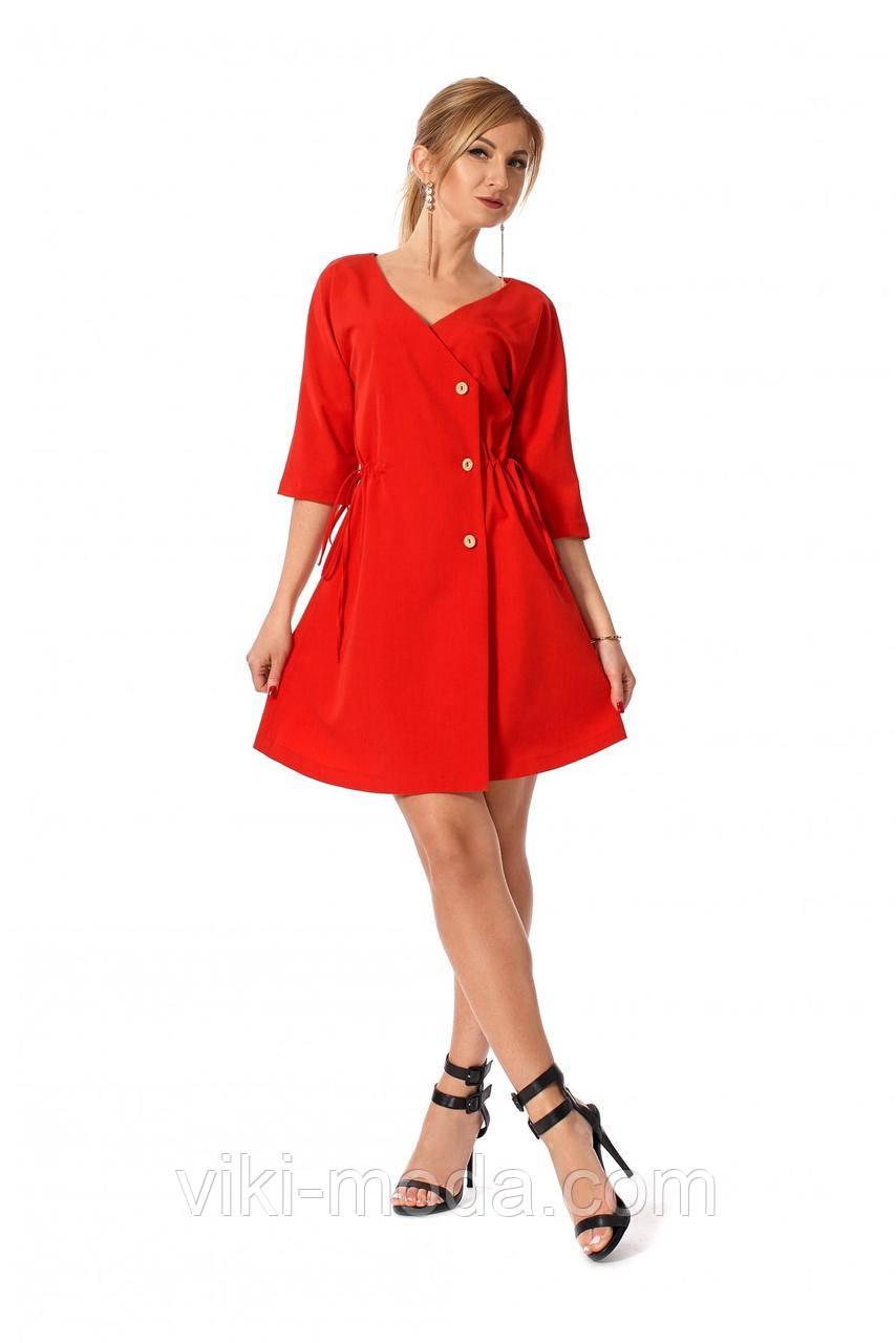 Стильное, повседневное, короткое платье, ткань тиар костюмный, цвет красный