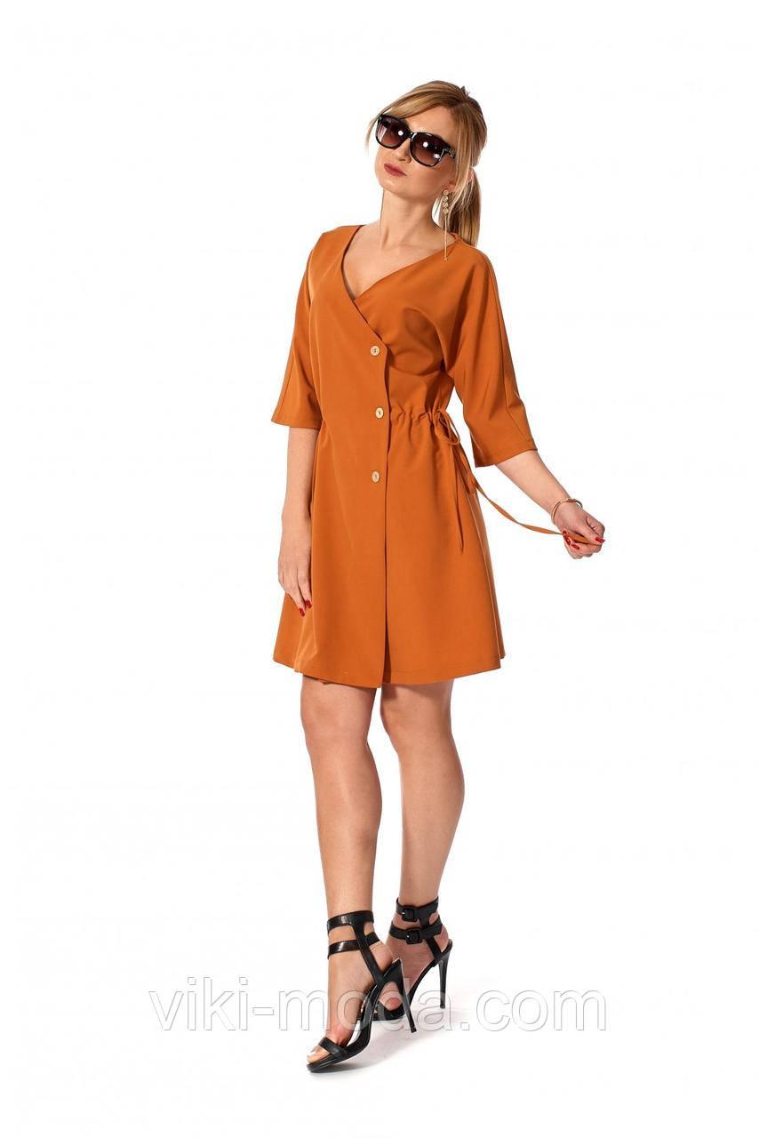Стильное, повседневное, короткое платье, ткань тиар костюмный, цвет горчичный