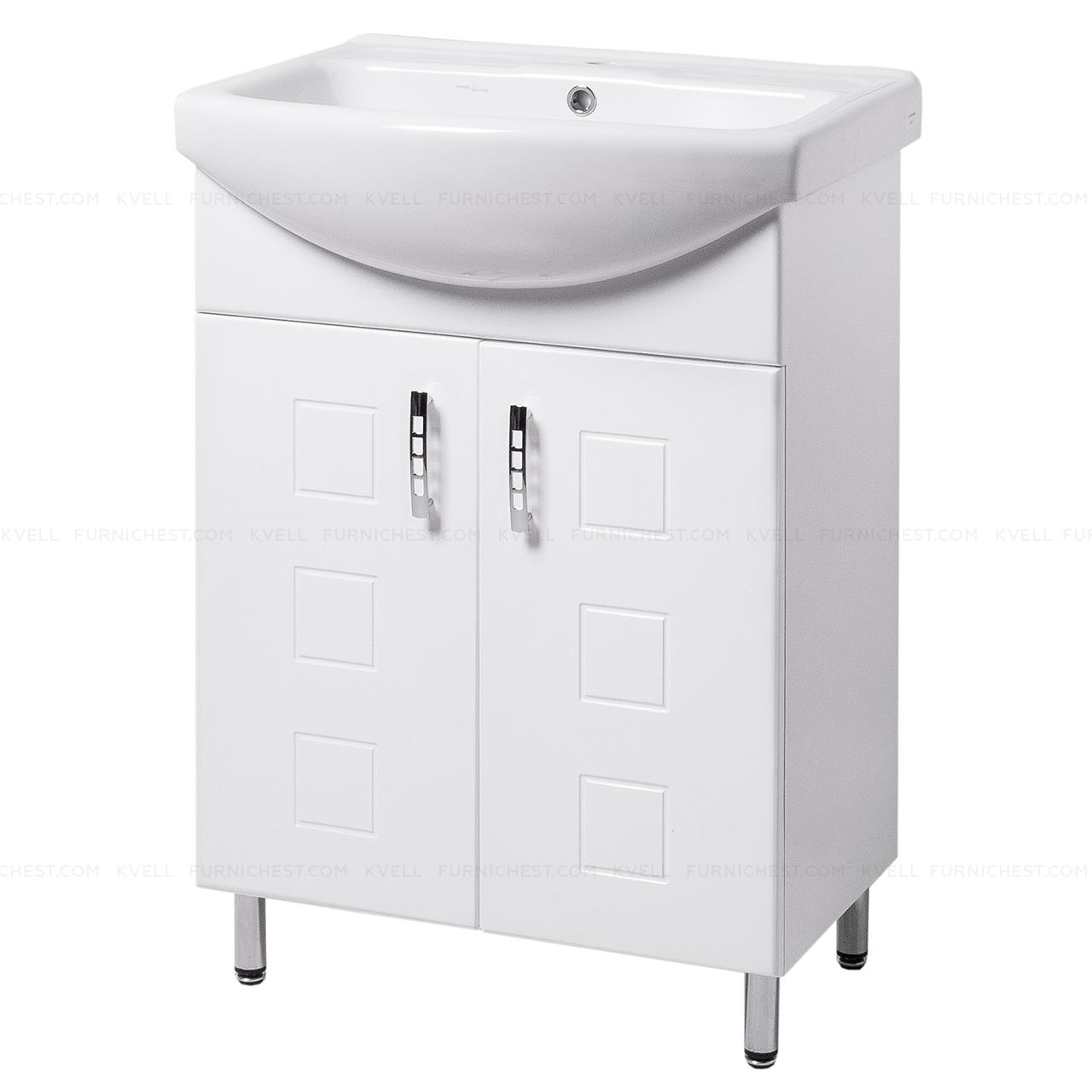 Тумба под раковину для ванной комнаты на ножках КВАТРО Т1 (белая) с умывальником ИЗЕО 50