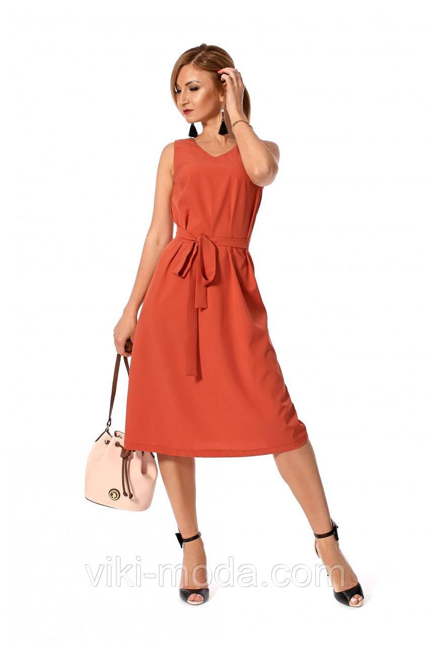 Повседневное летнее платье, простого кроя, ткань софт, кораллового цвета