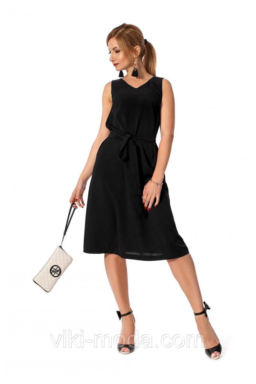 Повседневное летнее платье, простого кроя, ткань софт, черного цвета, р. 42, 50
