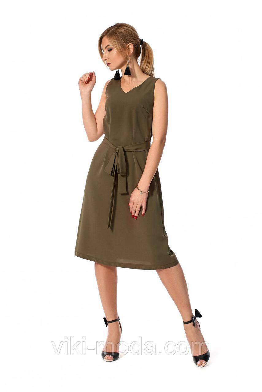 Повседневное летнее платье, простого кроя, ткань софт, цвет хаки