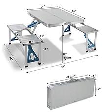 Раскладной стол и стулья Artist Hand Aluminum Folding Picnic Table with 4 Seats Portable Camping Table, фото 3