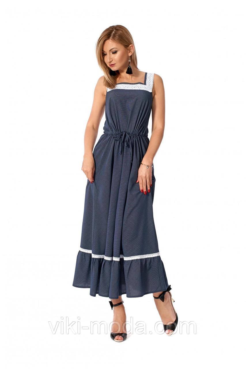 Летнее платье на бретелях, свободного силуэта, ткань софт, цвет темно-синий
