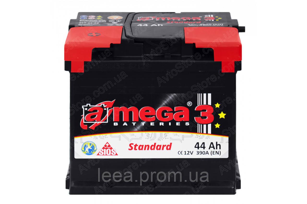 """Аккумулятор Автомобильный 44 Ач A-Mega Standart (6СТ-44-Аз 390 А """"+"""" слева) M3"""