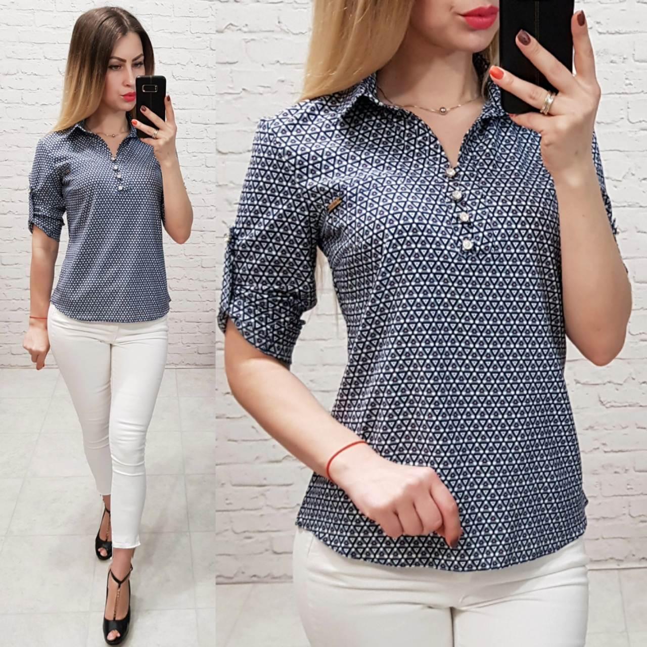 Блуза женская, софт, модель 828, принт - мелкий треугольник