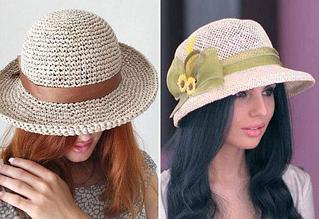 """Летняя шляпа из рафии """"Канотье"""""""
