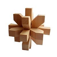 Деревянная головоломка Круть Верть Снежинка 9.5х9.5х9.5 см nevg-0037, КОД: 119460
