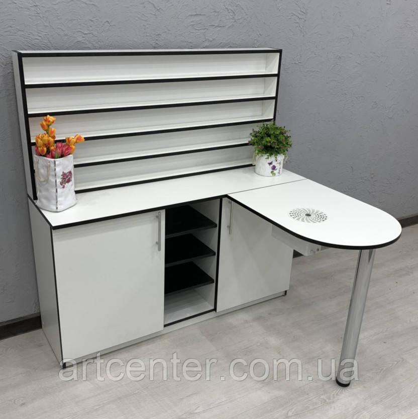 Угловой стол для маникюра со складной столешницей и полкой для лаков