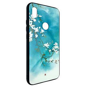Чехол-накладка DK-Case силикон Glass Case Sakura для Xiaomi Redmi Note 7 Pro (blue)