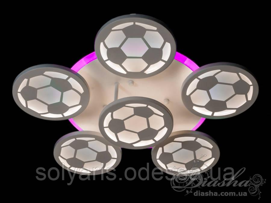 Потолочная LED-люстра с диммером и подсветкой, 105W 8065/5+1WH LED 3color dimmer серая