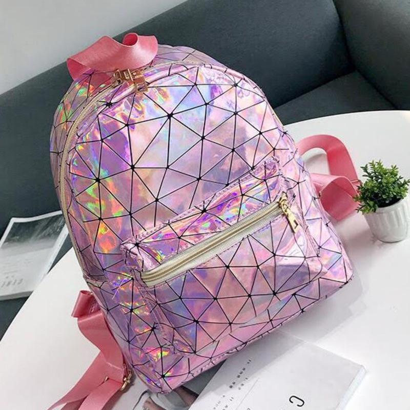 Женский рюкзак галограмный блестящая Агата