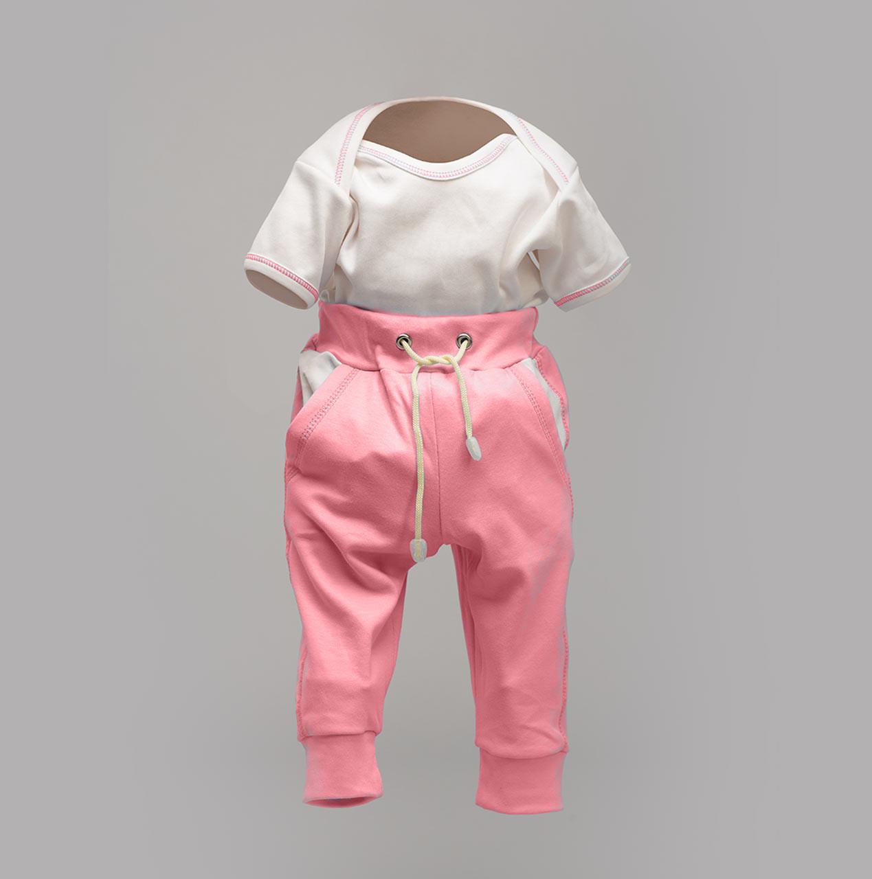 Комплект ясельный, боди-лодочка и штаны на еврорезинке, розовые Интерлок  |  Набір для новонароджених