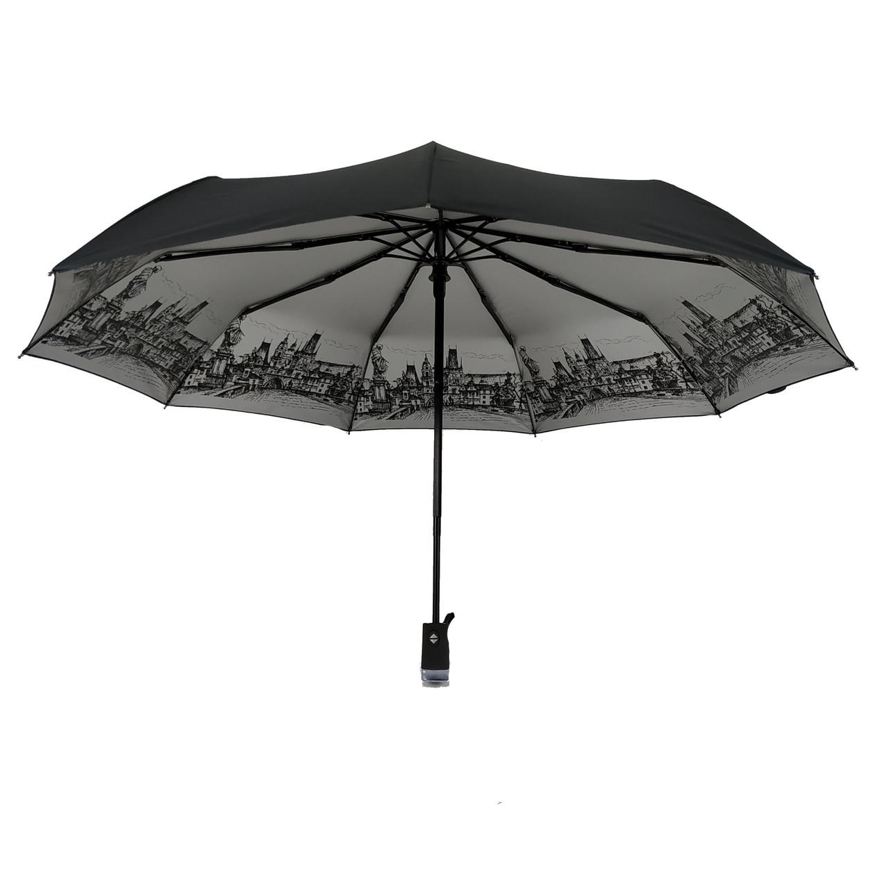 """Автоматический женский зонтик с серебристым напылением от Flagman, модель """"Mona"""", черный, 714-4"""