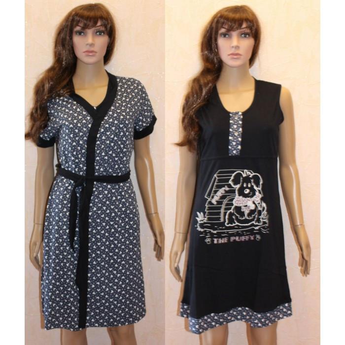 1ebfcd622eb7 Комплект с сердечками халат и сорочка для кормящих и беременных Puffy 44-58  р