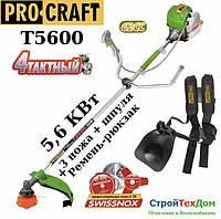 Бензокоса Procraft T - 5600 4 тактная (3 ножа (40Т победит, 3Т, 8Т) и 1 катушка-леска) штанга 28см