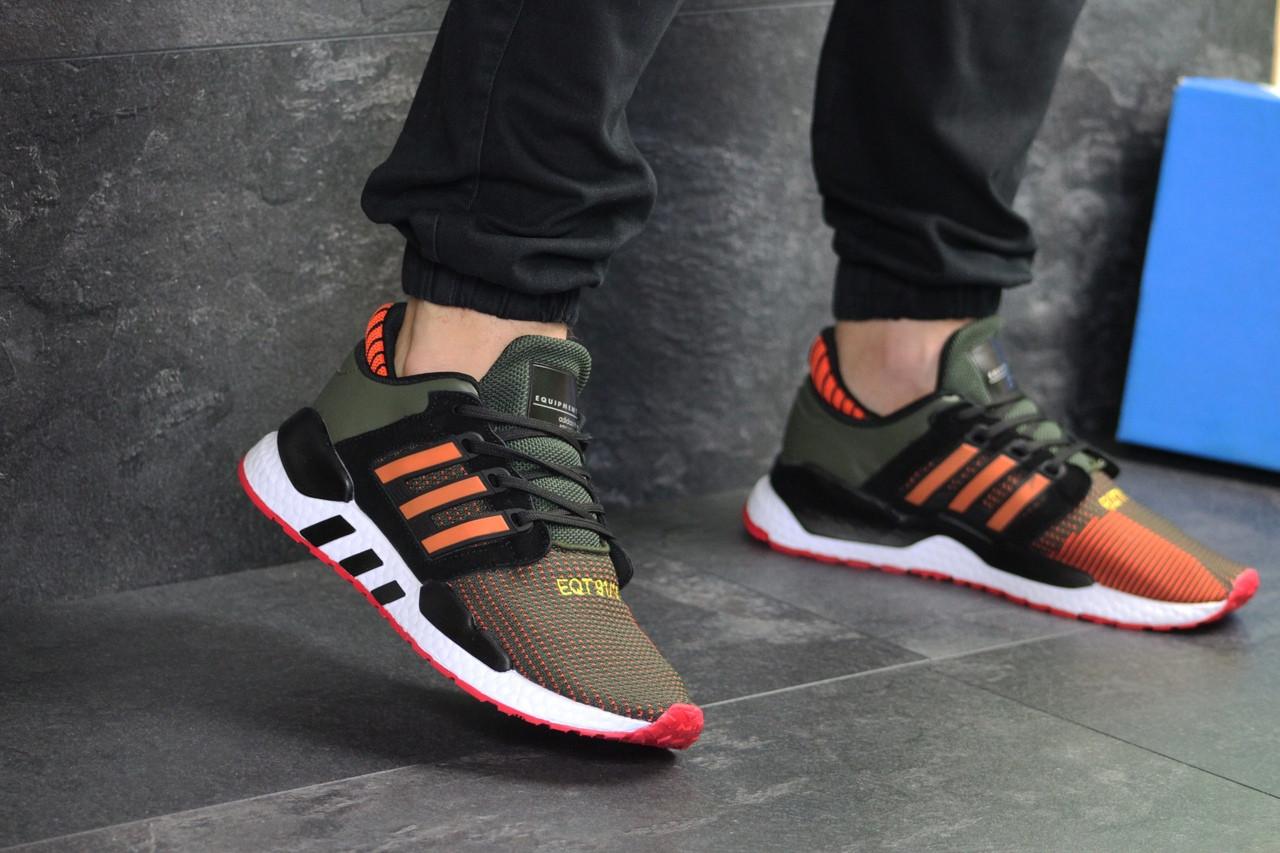 Мужские кроссовки Adidas Equipment 91/18 (темно-зеленые с оранжевым)