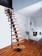 Лестница из массива дерева и металла в стиле LOFT