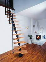 Лестница из массива дерева и металла в стиле LOFT, фото 1