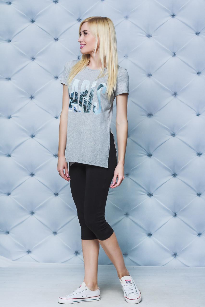 Комплект летний футболка с бриджами серый
