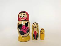 Матрешка традиционная 3 кукольная, Высота 7 см