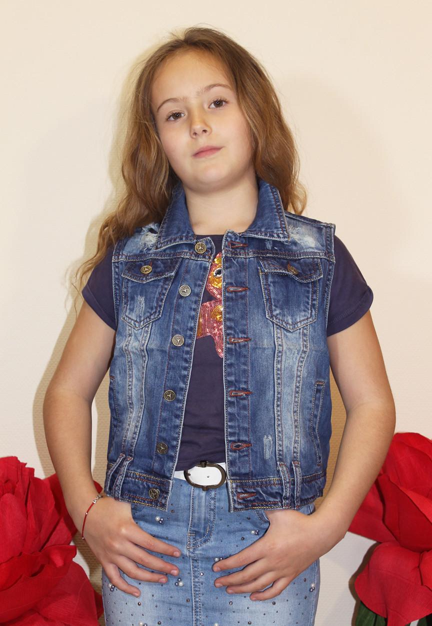 Жилетка джинсовая на девочку