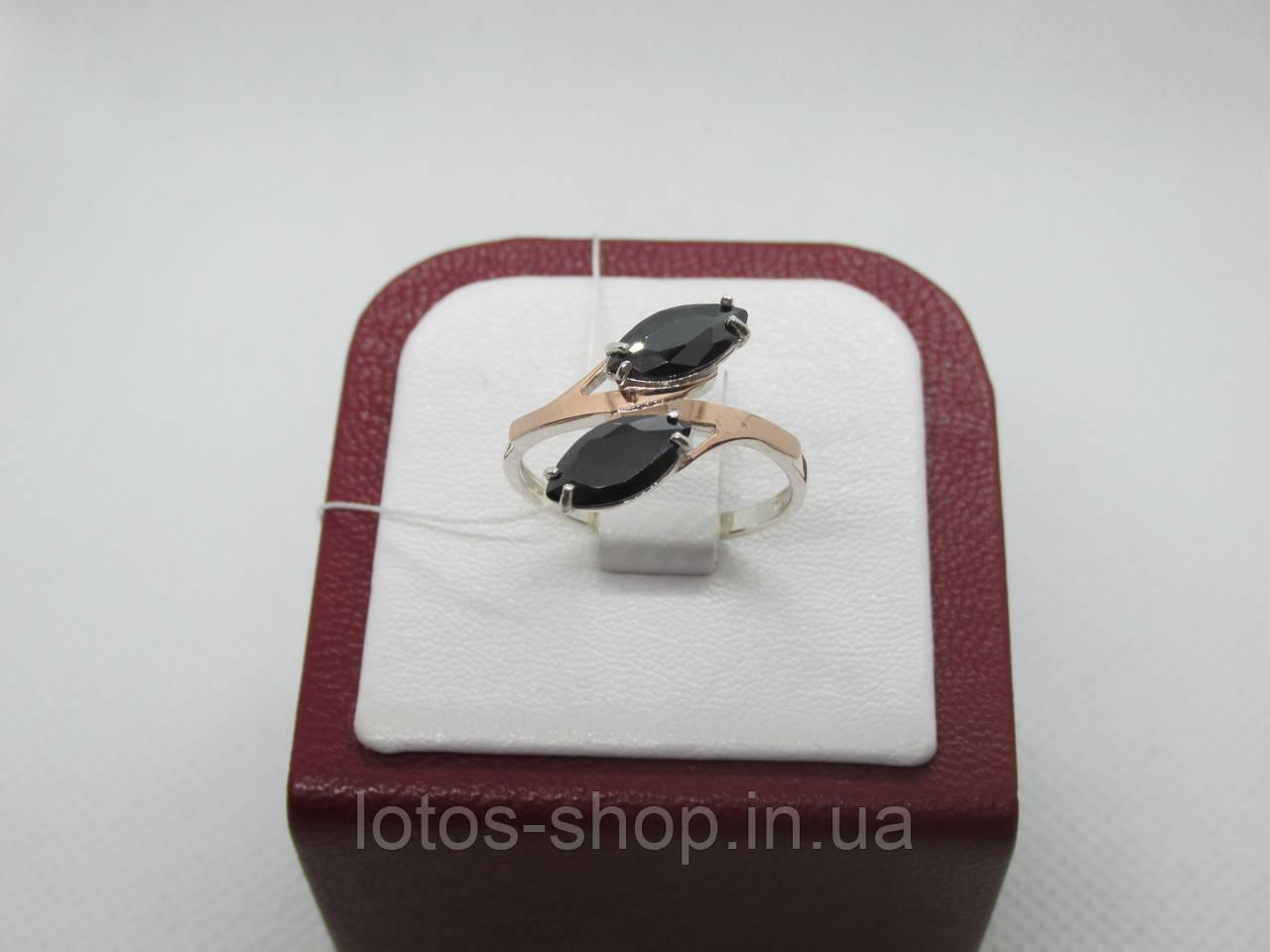 """Кольцо серебренное с камнем оникс """"Маркиз"""""""