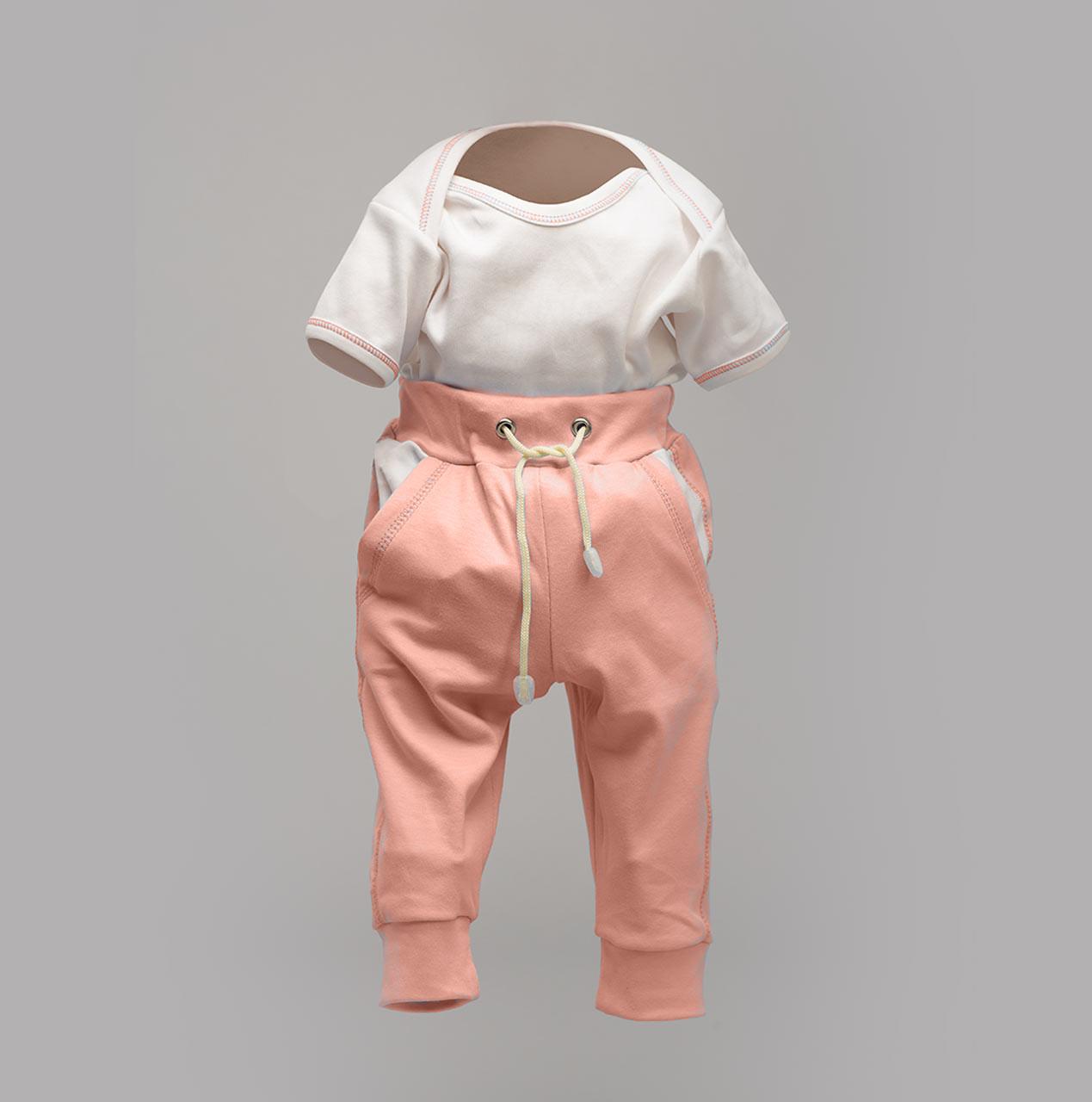 Комплект до года для девочки: боди-лодочка и штаны на еврорезинке, персик Интерлок | Набір для новонароджених