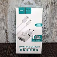 Зарядное устройство Hoco C11 1 USB (1.0 A) + Lightning to USB кабель (1m)