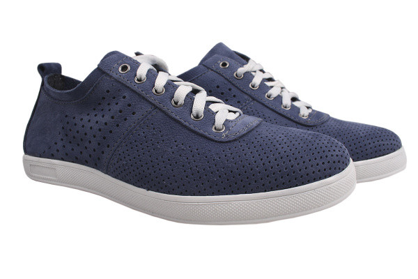 Туфлі чоловічі комфорт Maxus Shoes натуральний нубук, колір синій,розмір 44