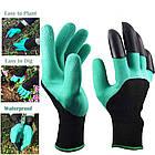 Садовые перчатки резиновые с пластиковыми наконечниками когтями для сада Garden Genie Gloves ОПТ, фото 2