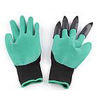 Садовые перчатки резиновые с пластиковыми наконечниками когтями для сада Garden Genie Gloves ОПТ, фото 3