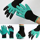 Садовые перчатки резиновые с пластиковыми наконечниками когтями для сада Garden Genie Gloves ОПТ, фото 8
