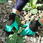 Садовые перчатки резиновые с пластиковыми наконечниками когтями для сада Garden Genie Gloves ОПТ, фото 9