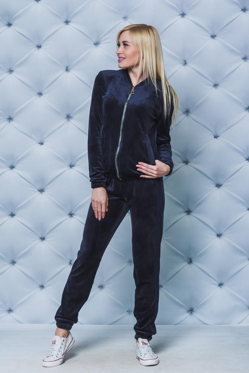 Велюровый костюм женский темно-синий