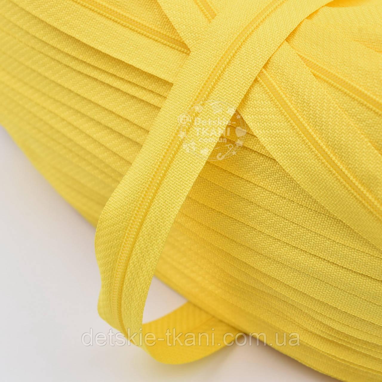 Молния рулонная жёлтого цвета, Т3 (метражом)