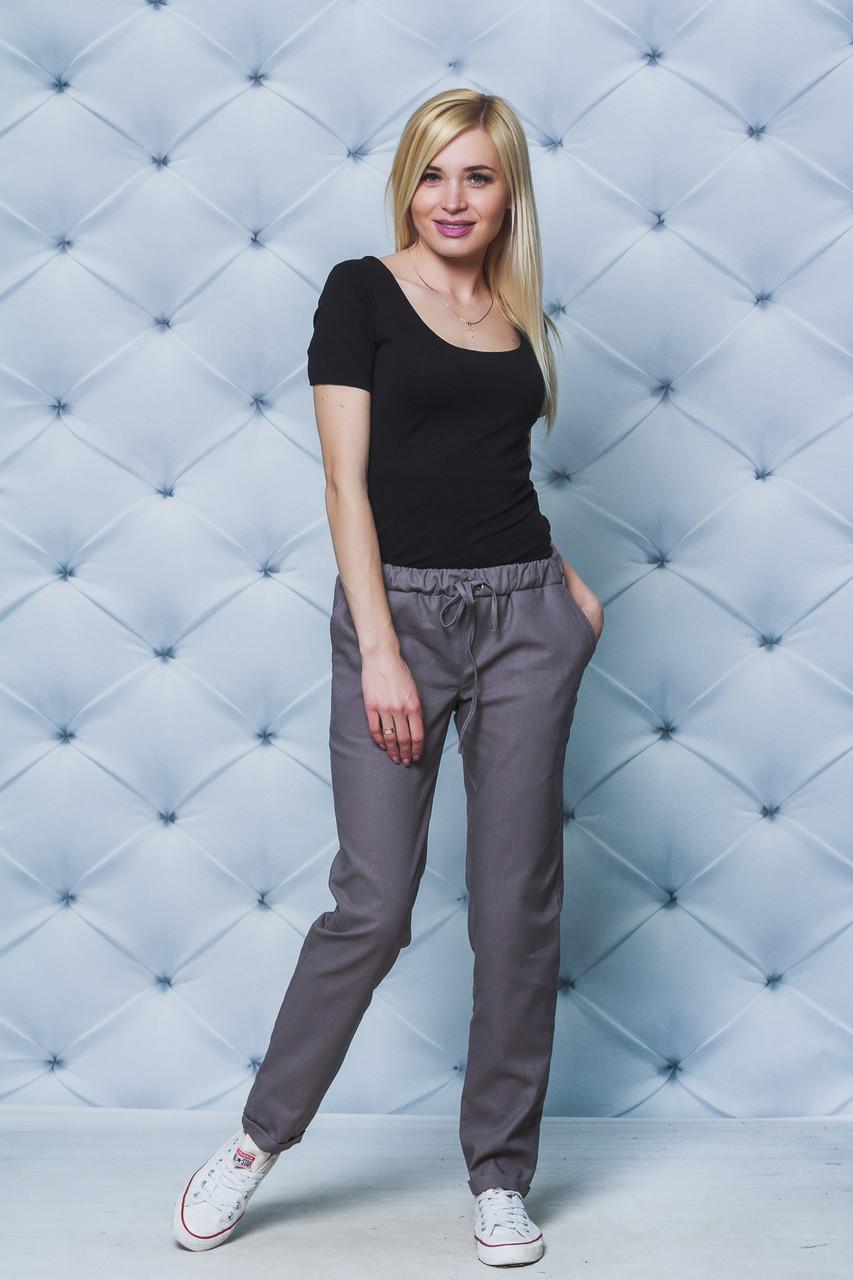 Женские брюки лен на шнурке кофе