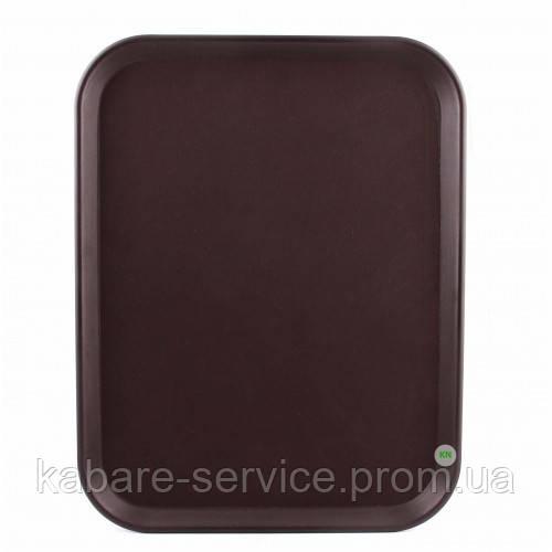 Поднос АНТИСЛИП,  нескользящее покрытие,31*42см, коричневый, Co-Rect