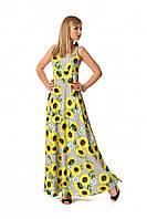 Летний сарафан на бретелях А - образного силуэта, принт подсолнух, ткань софт, цвет желтый