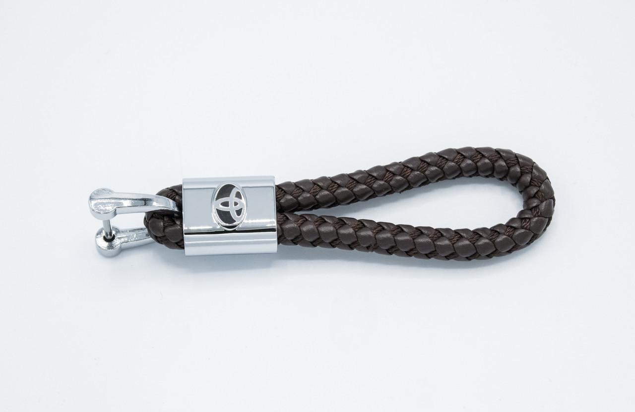 Брелок плетеный с логотипом TOYOTA плетеный берлок с логотипом тойота для автомобилиста + карабин/коричневый
